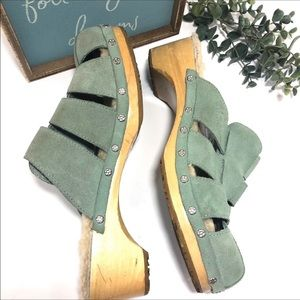 Ugg Dani Mint Wooden Clog Wool Sole Caged Clogs
